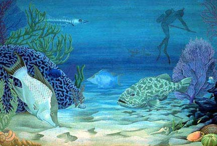 Hunters Fish Diving Painting